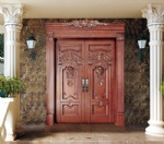 Double solid wood carving entry door
